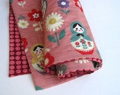 Baby QUILT / Matryoshka Dolls in Peach Coral Pink with Organic Cotton - Modern Kids Russian Doll Blanket Bedding