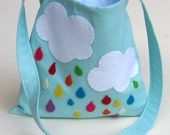 kids messenger bag rainbow rain drops / hand sewn eco friendly accessory for children