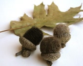 rustic brown wool acorns set of 12 / natural decor inspired by the forest