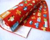 BABY QUILT eco friendly boys kids quilted crib bedding / modern red traffic with organic cotton (limited edition - fabric out of print)