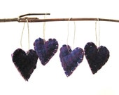 plaid purple heart felts ornaments set of 4 / plum love textured tartan wool