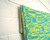 SALE - organic baby burp cloths SET of 2 in geometric vintage 1960s mod aqua lime circles eco friendly (ready to ship)