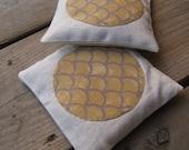 RESERVED for Dominic - balsam fir sachets set of 2 / mod golden honey silk applique on wheat linen