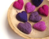 jewel tones felted heart pebbles set of 8 / wool decor in royal purple, amethyst and pink tourmaline