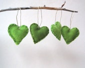 spring green heart felts ornaments set of 4 / eco friendly upcycled love decorations (READY TO SHIP)