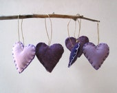 amethyst heart felts ornaments set of 5 / eco friendly upcycled wool love decorations in purple and lilac (READY TO SHIP)