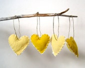 For Japan Earthquake Relief - lemon meringue pie heart felts ornaments set of 4 / eco friendly love decorations (READY TO SHIP) artisaid joyforjapan