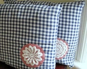 Gingham Pillow Sham Covers Set of Two (2) - Handmade with Vintage Cotton and Antique Lace - Americana Blue Red White (Ready to Ship)