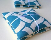 pair of balsam fir sachets in mod geometric blue and white linen / eco friendly hostess gifts (READY TO SHIP 2 available)