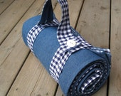 handmade picnic blanket for summer camping dining beach / retro rustic and roomy in indigo blue gingham