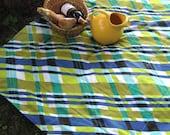 plaid picnic beach blanket / retro eco friendly vintage lime avocado green aqua ocean blue (last 1)