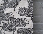 organic mod sheep baby blanket / eco friendly white and black lambs (limited edition - fabric out of print)