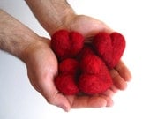 handful of red hearts pebbles / set of five in deep red garnet love and wedding decor favours - hostess gift