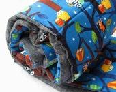 Sleepy Owls NAP MAT - Toddler Eco friendly Preschool Sleeping Pad Napmat - Woodland Forest Trees with Organic Denim