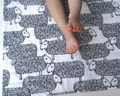 Organic Baby Quilt in Black and White Sheep- Organic Baby Shower Gift - Spring, Easter
