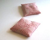 linen sachets balsam fir with pink geometry SET OF 2 / rose squares embroidered eco friendly - hostess favours (Ready to Ship)