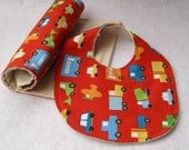 eco friendly baby bib and burp cloth set / red trucks in traffic with organic cotton flannel - baby gift ( Ready to Ship)