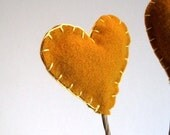honey gold hearts flowers stems set of 3 / eco friendly table love wedding decor (LAST ONE)