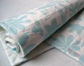 Organic baby quilt in eco friendly pale whisper spring pastel blue - modern kids crib bedding