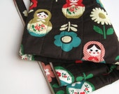 BABY QUILT matryoshkas crib bedding / Russian nesting dolls in coffee brown with organic cotton (last 3 - made to order)