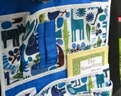 Kids Car Seat Organizer - Modern Handcrafted Travel Accessory with Pockets for Children and Baby - It's a Zoo in Here in Royal Blue