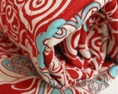 BABY QUILT organic / modern red turquoise circus