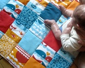 Organic Baby Playmat Quilted Nautical / XL Ocean Blue Orange Eco-Friendly Quilt for Baby Boys  (LAST 2)