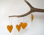 RESERVED felt ornament heart felts SET of 4 mustard yellow /  rustic wool love autumn tree decorations