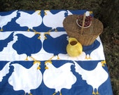 picnic blanket / mod summer beach quilted 3-layer blanket with vintage Scandinavian blue white farm