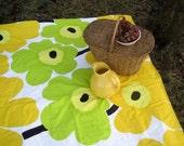picnic blanket / Marimekko mod giant Unikko flowers in lime green gold yellow  - wedding gift