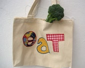 Organic Bag for the Farmer's Market / eco friendly summer reusable food tote with vintage midcentury letters (ONLY 1 - ready to ship)