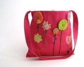 organic kids messenger bag / hope springs fuschia eco friendly pink (ready to ship - only 1)