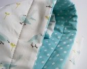 Organic Baby QUILT for Modern Kids - Sky Blue Birds and Polka Dots in Aqua and White by SewnNatural