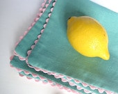 Spring table napkins SET of 4 - rick rack-trimmed reversible retro pastels decor kitchen table napkins