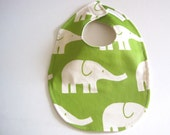 Organic BABY BIB -  Modern Green and White Elephants - Baby Boys Food and Teething Bib