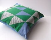 silk throw pillow cover - geometric mod vintage Vera scarf cushion / 1960s Op Art in blue green diamonds (ready to ship) gift idea for men