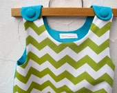 The Ava Dress - 2T Toddler Girls Dress in Green Chevron - Modern Kids Fashion in Olive and Turquoise Blue