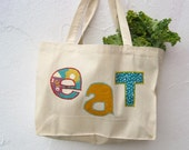 Organic Food Bag - tote bag / farmer's market summer bag in gold and turquoise blue (ONLY 1 - ready to ship)