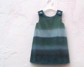 The Estelle Dress - Marimekko Girls Dress - Ombre Stripes in Moon Light Teal Blue - Modern Kids