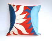 Rare Vera 1960s Sun Throw Pillow Cover - Pillow Sham Cushion Handmade with Vintage Vera Silk in Red White Blue (only 1 - ready to ship)