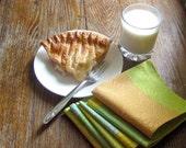 Table Napkins Home Decor in Marimekko Greens Apricot Orange- SET of 5 / Food Picnic Napkins (Ready to Ship)