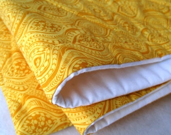 BABY QUILT organic bedding / handmade modern eco friendly golden honey yellow