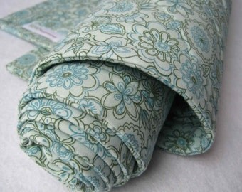 SALE -  Organic Baby Bedding Quilt in Spring Turquoise Flowers - Special Long Size (Ready to Ship)