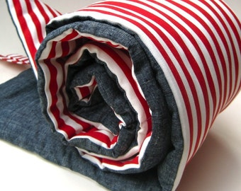 Toddler Nap Mat - Eco Friendly Parisian Red White Stripes for Kids - Preschool Daycare Kindergarten Napmat