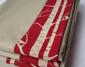 BirchOrganic Baby Blanket - Rustic Trees and Birds Forest in Garnet Red - Eco Friendly Kids Gift