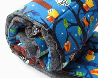 Sleepy Owls NAP MAT - Toddler Eco friendly Preschool Sleeping Pad Napmat - Woodland Forest Trees with Organic Denim