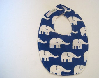 BABY BIB organic navy blue elepants boys girls feeding teething / organic cotton sateen