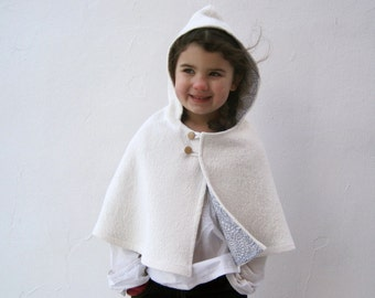 CAPE girls white boiled wool capelet hood size 3T to 5T / winter wedding shrug