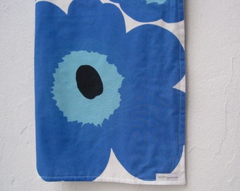 Marimekko Baby Blanket - Blue Poppies with Organic Cotton Flannel - Eco Friendly Kids Bedding - Blues and White