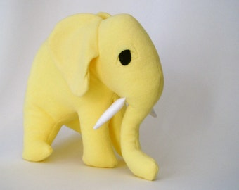 Yellow Elephant Organic Toy - GIANT Stuffed Animal Plush in Sun Lemon Yellow - Lola the Lemon Elephant